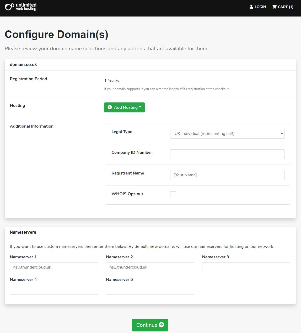unlimited webhosting domain configuration menu