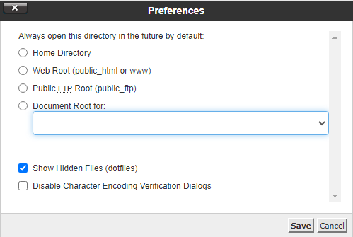 cPanel search settings