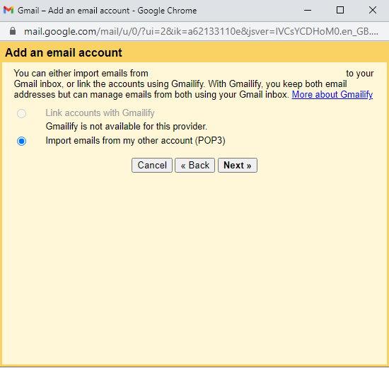 Gmail import with POP3