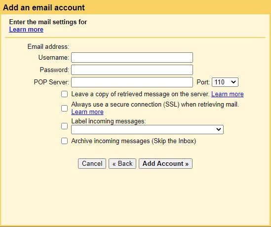 Gmail POP3 configuration