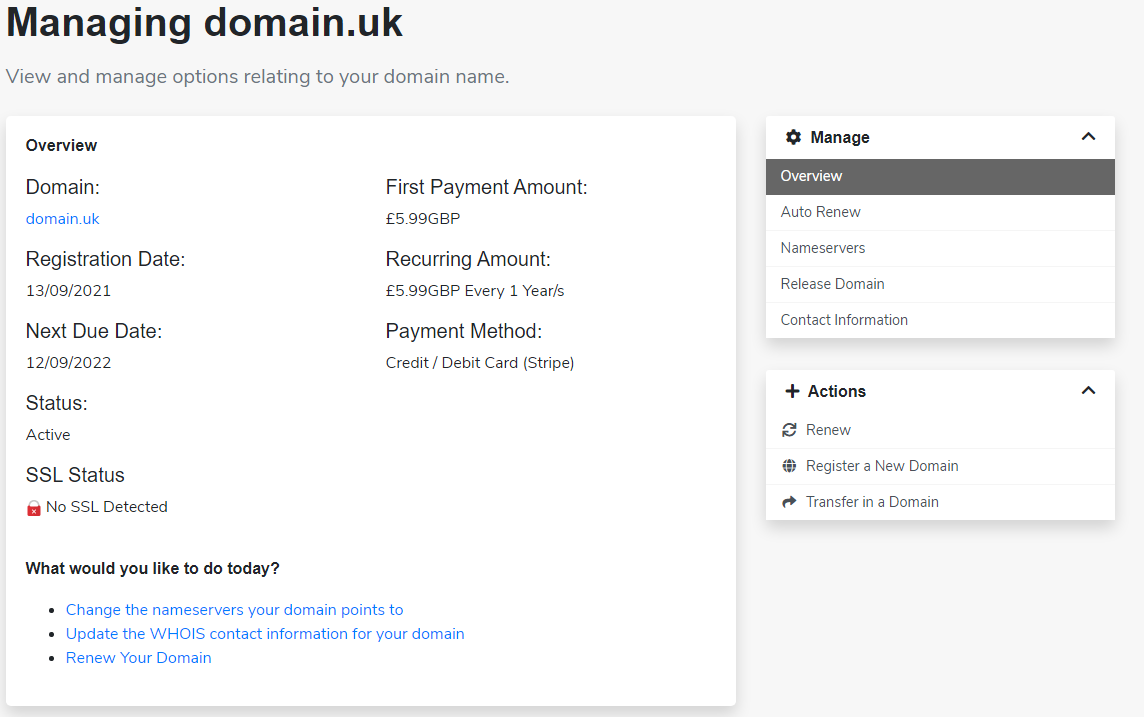 Domain manager in client area