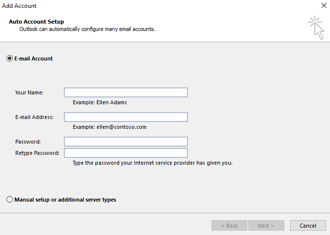 Outlook automatic configuration interface