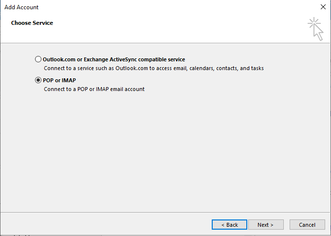 Outlook manual configuration interface