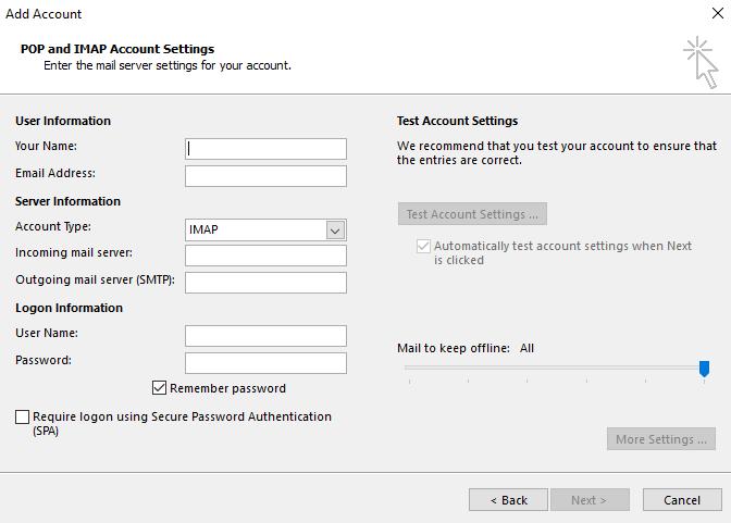 Outlook IMAP configuration interface