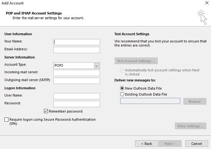 Outlook POP3 configuration interface