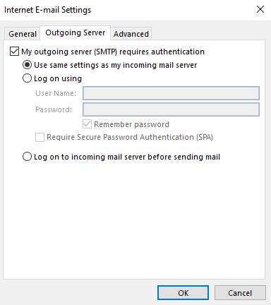Outlook outgoing configuration interface