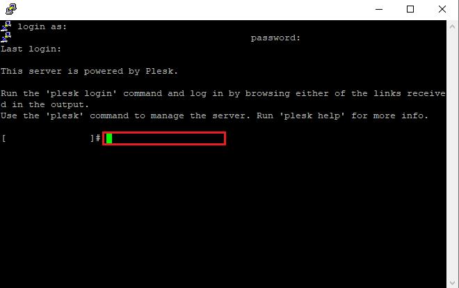 Plesk on SSH (PuTTY)