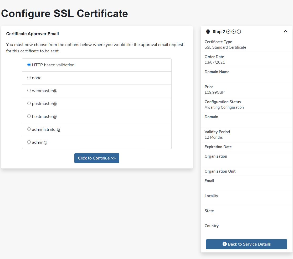 unlimited webhosting SSL validation method